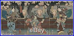 1855 TOYOKUNI Orig JAPANESE Triptych Woodblock Print KABUKI Actors Samurai