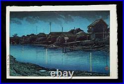 1930 Japanese Color Woodblock Print Omori Beach at Night by Kawase Hasui (TeN)