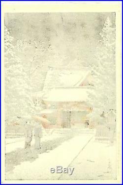 1931 Kawase Hasui Snow at Hie Shrine Original Japanese Woodblock Print SUPERB