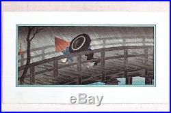 1932 Hiroaki Takahashi Shotei Japanese Woodblock Night Shower Rain Izumi Bridge