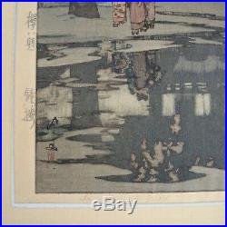 1935 Hiroshi Yoshida In a Temple Yard Signed Woodblock Lifetime Print Japanese