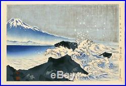 1940 Orig TOKURIKI TOMIKICHIRO Japanese Woodblock Print Beach of Cape Satta