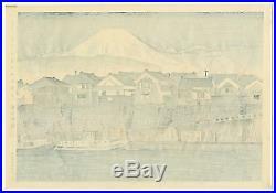 1940 Orig TOKURIKI TOMIKICHIRO Japanese Woodblock Print Fuji from Numazu