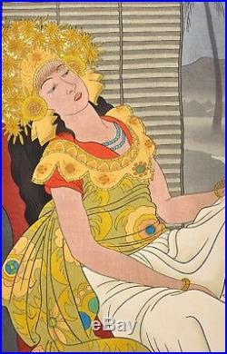 1940's Japanese Woodblock Print Paul Jacoulet Apres la Danse Celebes