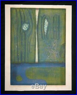 1976 Japanese Print 5/50 Moon Changed to Bamboo Hiroyuki Tajima (19111984)(Hic)