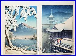(2) LOT! Kawase Hasui Doi Snow Scenes Original Japanese Woodblock Posthumous Ed