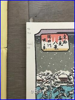 6 Hiroshige ORIGINAL-RARE Vintage Japanese Woodblock Village Snow Prints -1940s