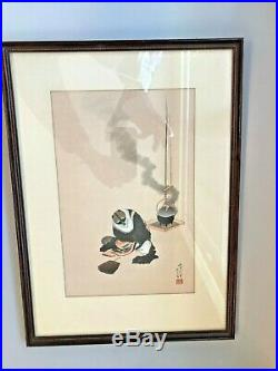 Antique 1848 Hokusai Katsushika Woodblock Print The Badger And Tea Kettle