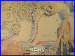 Antique C. 1865 Japanese Ukiyoe Woodblock Print Bijinga Geisha Kabuki By Toyoharu