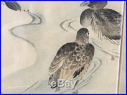 Antique Japanese Meiji Shibata Zeshin Signed Watercolor & Ink Woodblock Ducks