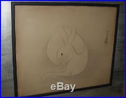 Antique Japanese Woodblock Print Rabbit by Sotatsu 20th century
