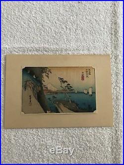 Antique Original Japanese Woodblock 6x4 Print Set Of 6 Signed