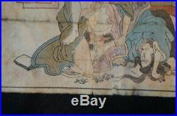 Antique Shunga Japanese wood block print on paper 1880s Japan erotic art