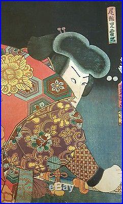 Antique Ukiyo-e Rare Japanese Woodblock Print Utagawa Kunisada Three Actors