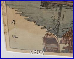 Antique Vintage Japanese Woodblock Print Hiroshi Yoshida Harbor of Tomonoura