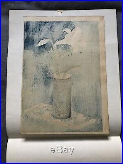 Bakufu Ohno Lily In Bamboo Vase 1950 Original Japanese Woodblock Print 1st Ed