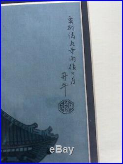 Benji Asada Moon And Kiyomizu Temple Framed Vintage Woodblock Print Kyoto Uchida