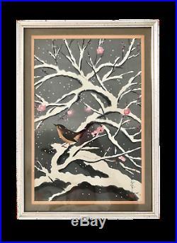 Bird on a Snowy Cherry Tree Japanese Woodblock Print by Bakufu Ohno