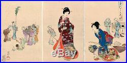 Chikanobu, Original Japanese Woodblock Print, Beauty, Cleaning Day, Court Lady