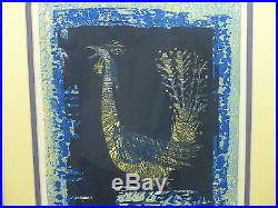Fine MCM Shima Tamami 1961 Limited Edition Rooster Bird Japanese Woodblock Print