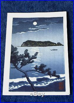 Genuine Japanese Woodblock Print Kawase Hasui Full Moon Light On The Lake