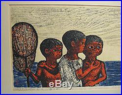 Gyojin Murakami'70 Modern Japanese Color Woodblock of Boys Fishing Listed Japan