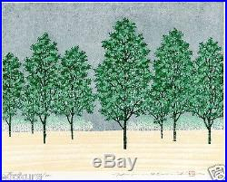 HAJIME NAMIKI JAPANESE Woodblock Print Forest Hand SIGNED by Pencil
