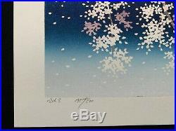 HAJIME NAMIKI JAPANESE Woodblock Print SAKURA Cherry Blossoms HAND SIGNED