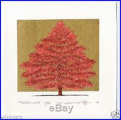 HAJIME NAMIKI JAPANESE Woodblock Print Tree Scene 134A Hand SIGNED by Pencil