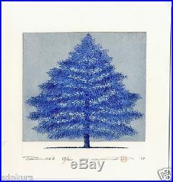 HAJIME NAMIKI JAPANESE Woodblock Print Tree Scene 134B Hand SIGNED by Pencil
