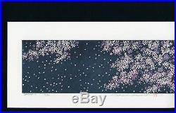 HAJIME NAMIKI Orig JAPANESE Woodblock Print Cherry Blossom in Blight Blue Night
