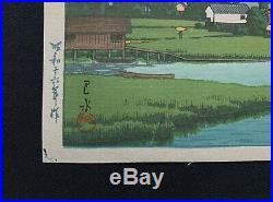 HASUI JAPANESE Hand Printed Woodblock Print Lake Kizaki in Shinshu