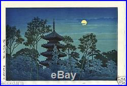 HASUI JAPANESE Hand Printed Woodblock Print Pagoda at Honmon Temple, Ikegami