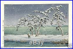 HASUI JAPANESE Hand Printed Woodblock Print Snow at Hinuma Swamp, Mito