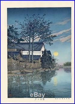 HASUI JAPANESE Woodblock Print SHIN HANGA Evening at Itako