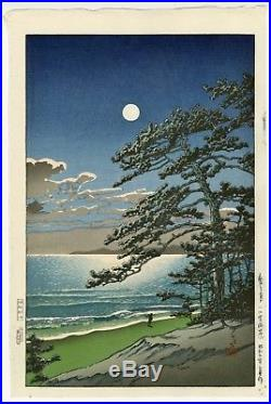 HASUI JAPANESE Woodblock Print SHIN HANGA Spring Moon at Ninomiya Beach