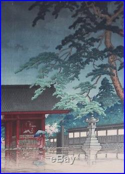 HASUI KAWASE-Japanese-Signed/ Sealed Titled LIM. ED Color WB-Spring Rain@ Gokoku