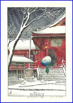 HASUI KAWASE Japanese woodblock print ORIGINAL Shin-hanga Snow Ueno Kiyomizudo
