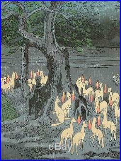 HIROSHIGE JAPANESE Large WOODBLOCK PRINT Fox Fires at Hackberry Tree in Oji JP