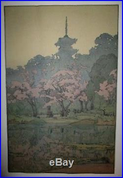 HIROSHI YOSHIDA-Japanese Woodblock Print-SANKEIEN-Eight Scenes Of Cherry Blossom