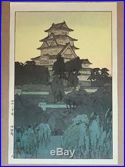 HIROSHI YOSHIDA original Japanese woodblock print, Himeji Castle-Morning 1926