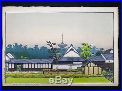 HODAKA YOSHIDA Japanese Woodblock Print DISTANT VIEW YAKUSHI-JI, NARA RARE