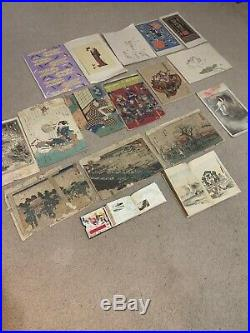 HUGE ANTIQUE Asian Japanese Woodblock Block Print LOT MUST SEE! 85+ See Descrip