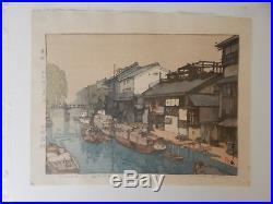 Hiroshi Yoshida, Canal in Osaka, Japanese Woodblock Print Jizuri