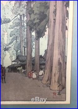 Hiroshi Yoshida Cryptomeria Avenue Japanese Woodblock Print Jizuri Seal 1937