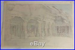 Hiroshi Yoshida Japanese Woodblock Ajanta Cave Temple 1931