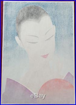 Ichiro Tsuruta WOODBLOCK Print The Hand Mirror (Blue) japan japanese beauty