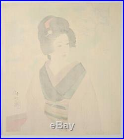 Ito Shinsui Genuine Japanese Woodblock Print Beauty And Cherry Blossoms