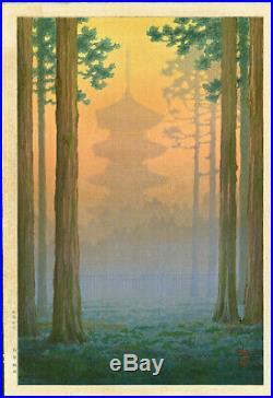 Ito Yuhan Japanese Woodblock Print Pagoda at Nikko 1930s Pre-war