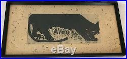 Iwao Akiyama (1921-2014) Japanese Woodblock. Black Cat. 32/100